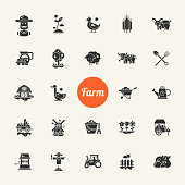 Set of farm and agriculture flat design vector icons and pictograms