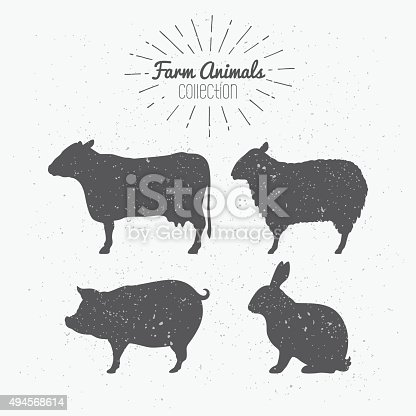 Set of farm animals silhouettes. Beef, lamb, pork, rabbit meat. Butcher shop design template for craft meat packaging or food restaurant. Sunburst rays label template. Vector illustration