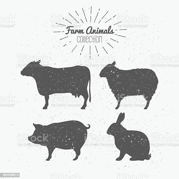 Set of farm animals cow sheep pig and rabbit silhouettes vector id494568614?b=1&k=6&m=494568614&s=612x612&h=smke yb2y  favutjwsq5hcqmmo5dkmapzisdwqrx5k=