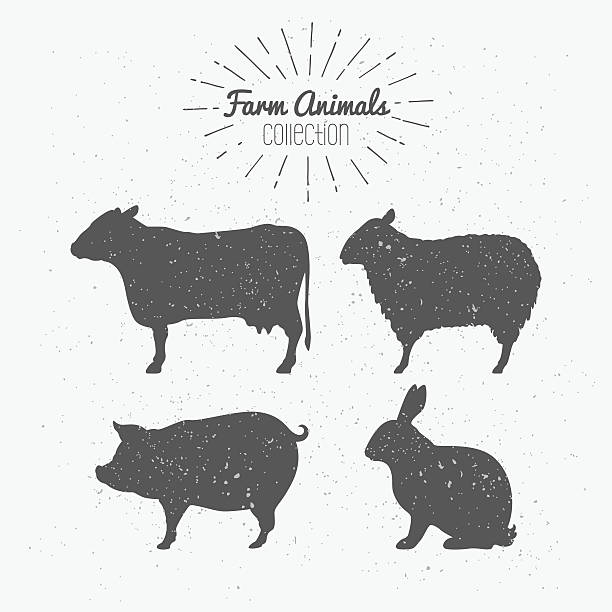 Set of farm animals. Cow, sheep, pig and rabbit silhouettes vector art illustration
