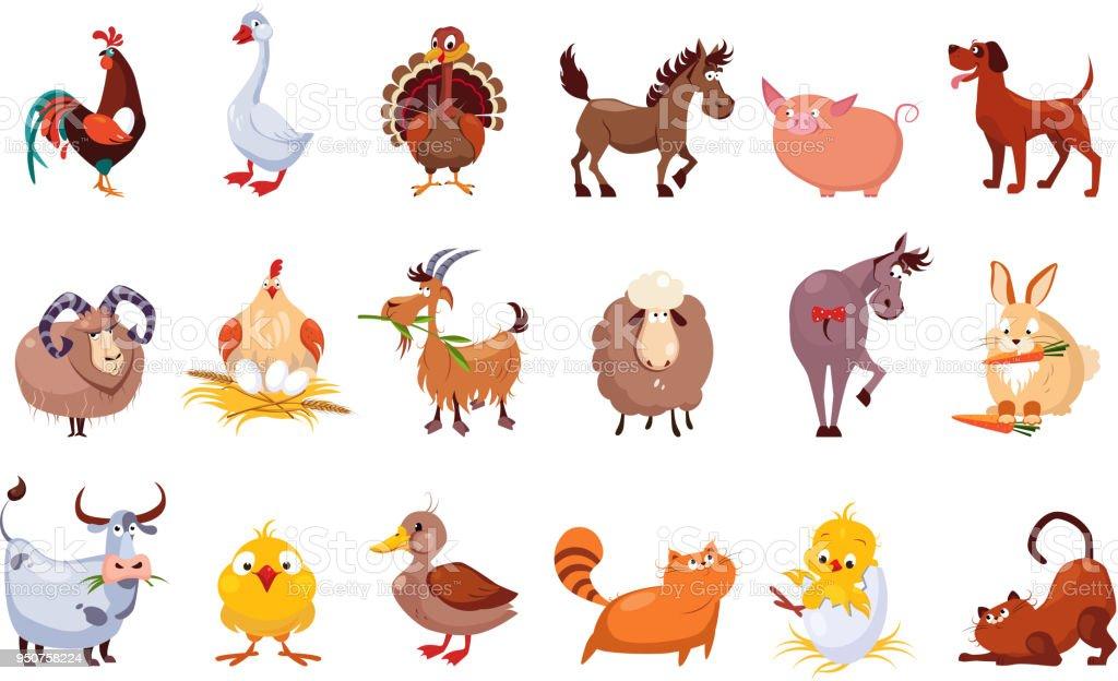 Vetores De Conjunto De Animais De Fazenda Pecuaria E Avicultura