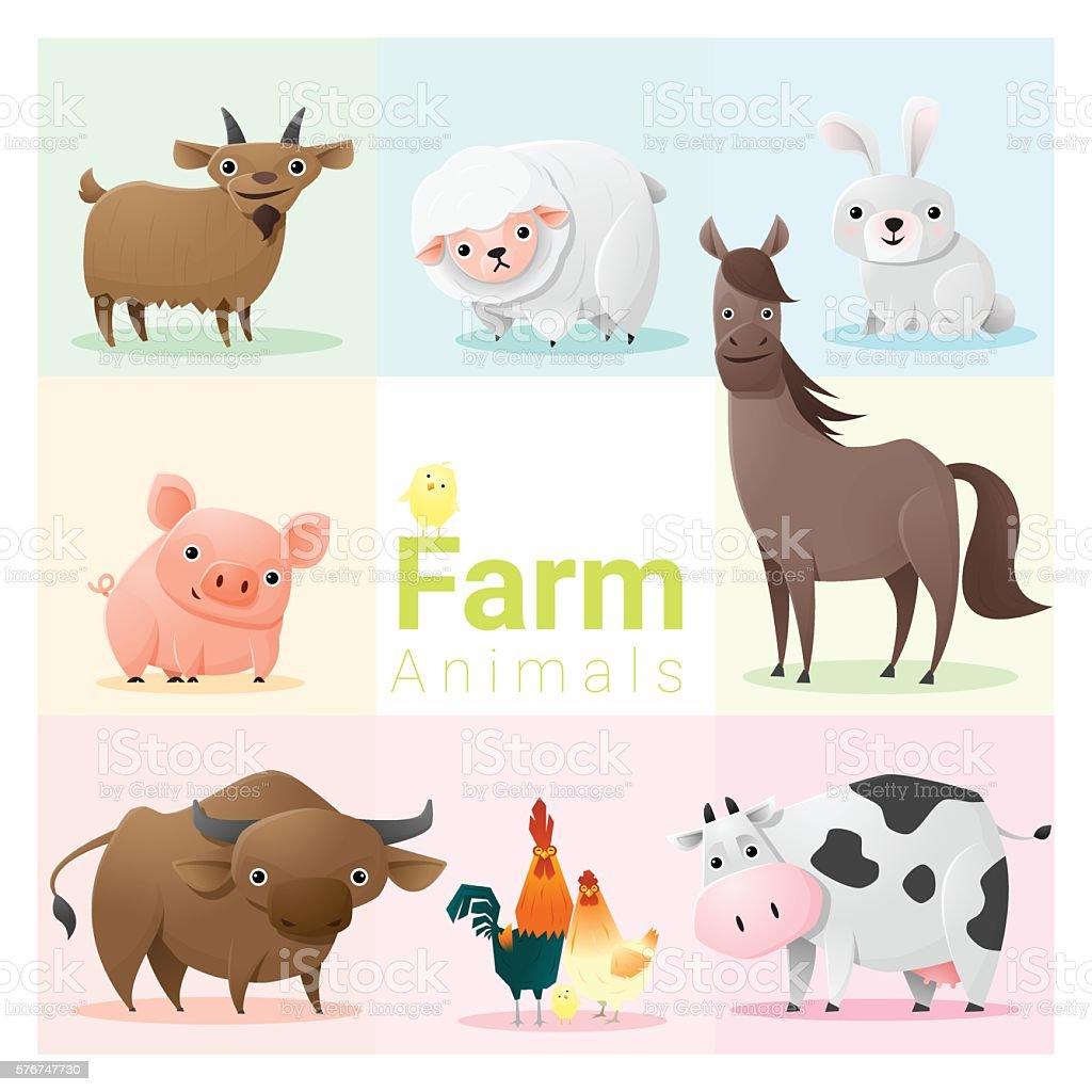 Set of farm animals vector art illustration