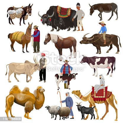 Set of farm animals with farmers. Vector illustration isolated on white background