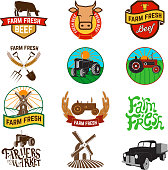 Set of farm fresh products labels, emblems and design elements. Fresh beef. Farm fresh products. Tractor icons. Wind mill icons. Organic products.