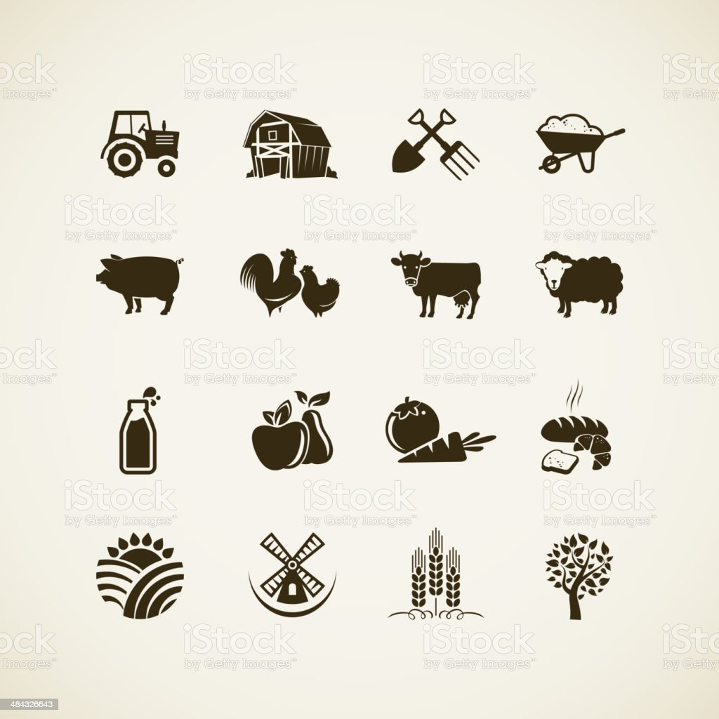 Set of farm icons vector art illustration