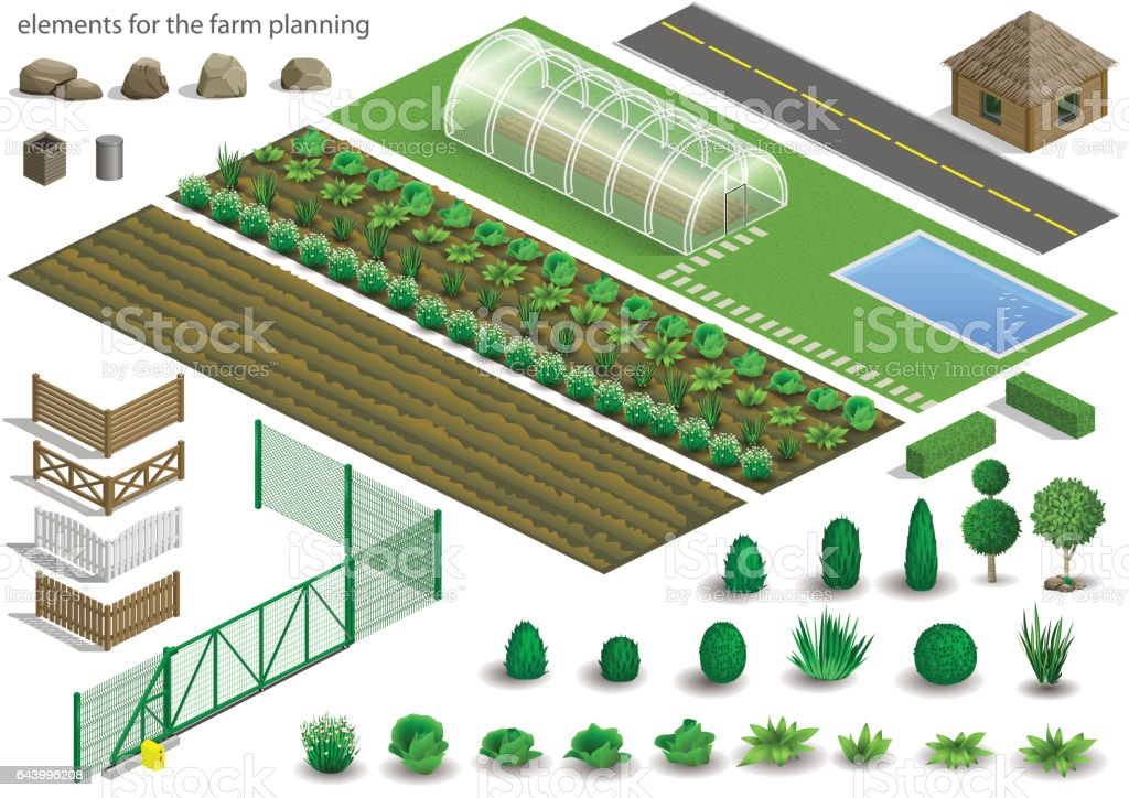 Set of farm planning elements vector art illustration