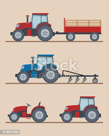Set of farm tractors isolated on beige background. Heavy agricultural machinery for field work. Flat style, vector illustration.