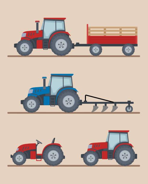 illustrazioni stock, clip art, cartoni animati e icone di tendenza di set of farm tractors isolated on beige background. - trattore