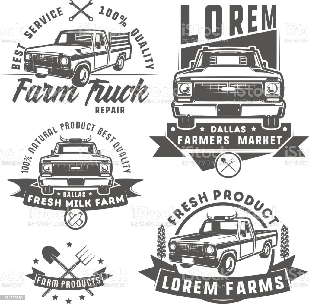 Set of farm truck for emblem,emblems and design. vector art illustration