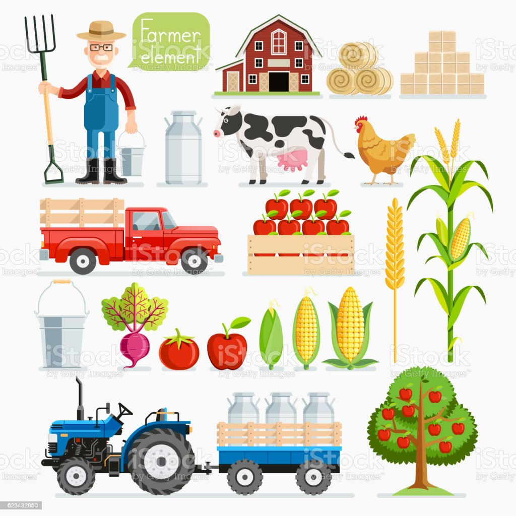 Set of farmer element. Farmer and farm animals. vector art illustration