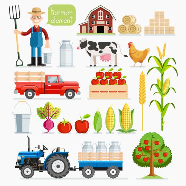 ilustrações, clipart, desenhos animados e ícones de set of farmer element. farmer and farm animals. - corn farm