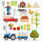Set of farmer element. Farmer and farm animals.