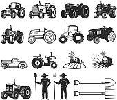 Set of farmers market design elements. Tractor icons. Design elements for  label, emblem, sign, badge.