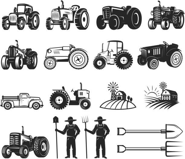 illustrazioni stock, clip art, cartoni animati e icone di tendenza di set of farmers market design elements. tractor icons. design elements for  label, emblem, sign, badge. - trattore