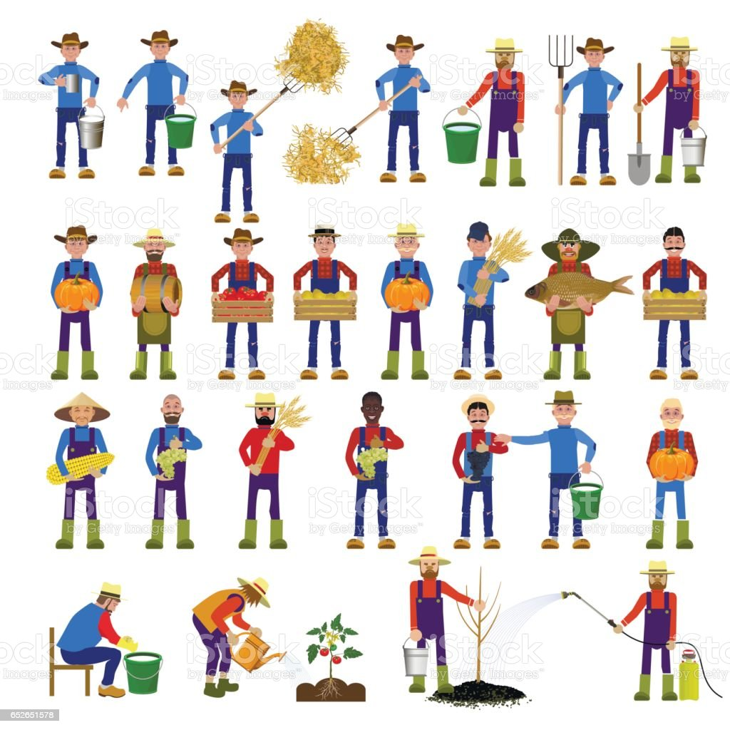 Set of farmers vector art illustration