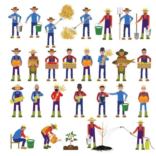 set of farmers - 農業従事者点のイラスト素材/クリップアート素材/マンガ素材/アイコン素材