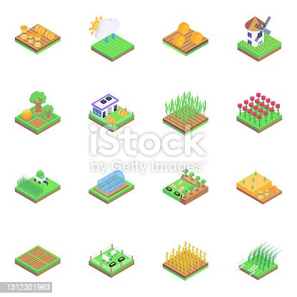 istock Set of Farming and Agriculture in Isometric Icons 1312351963