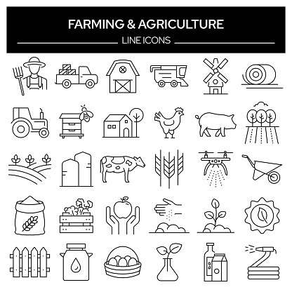 Set of Farming and Agriculture Related Line Icons. Outline Symbol Collection, Editable Stroke