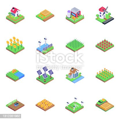 istock Set of Farming in Isometric Icons 1312351952