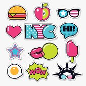 set of vector trendy american color patches, stickers and pins