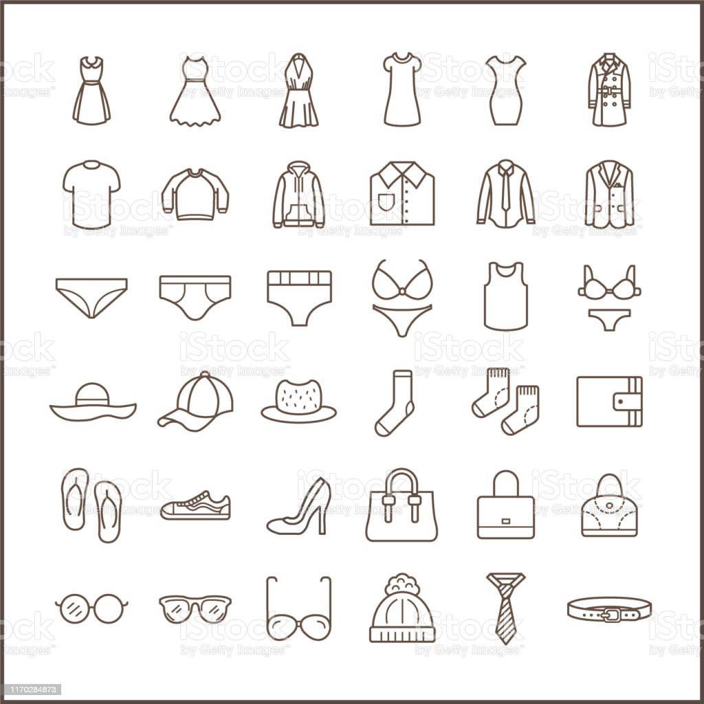 Set Of Fashion And Clothes Icons Line Style Stock Illustration Download Image Now Istock