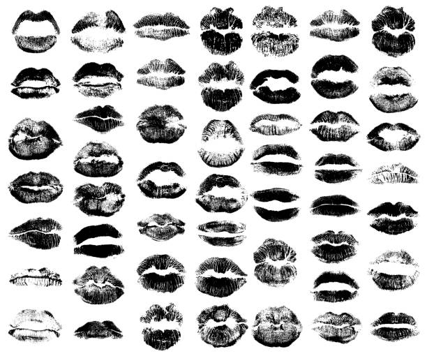 Set of fashion beauty women lips isolated on white background. Various shape sending kisses. Girls black lips close up. Collection of female mouth and fashionable lipstick. Vector. Vector. sensuality stock illustrations