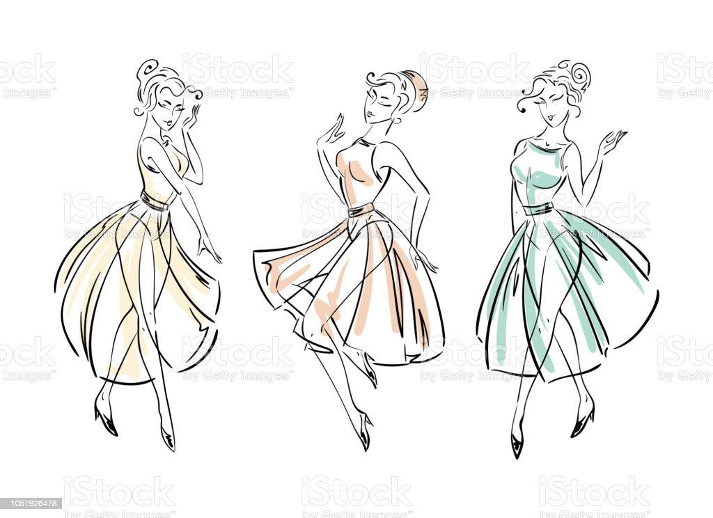 Set of fashion freehand dresses collection sketches векторная иллюстрация