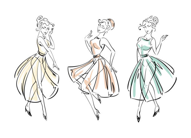Bекторная иллюстрация Set of fashion freehand dresses collection sketches