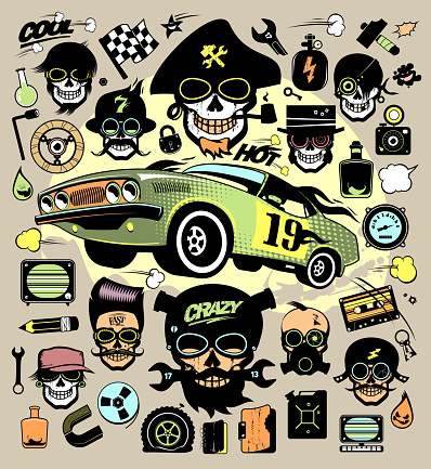 Set of fashion icons and symbols with race car, hipster skulls