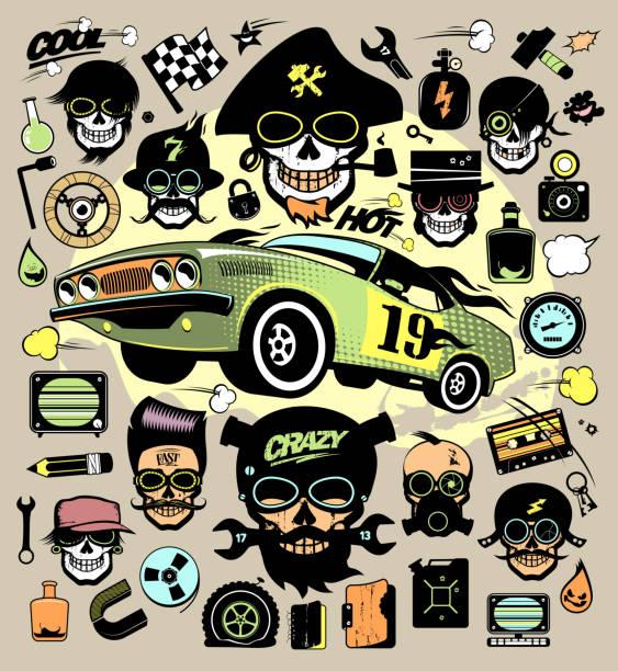 ilustrações de stock, clip art, desenhos animados e ícones de set of fashion icons and symbols with race car, hipster skulls - tape face