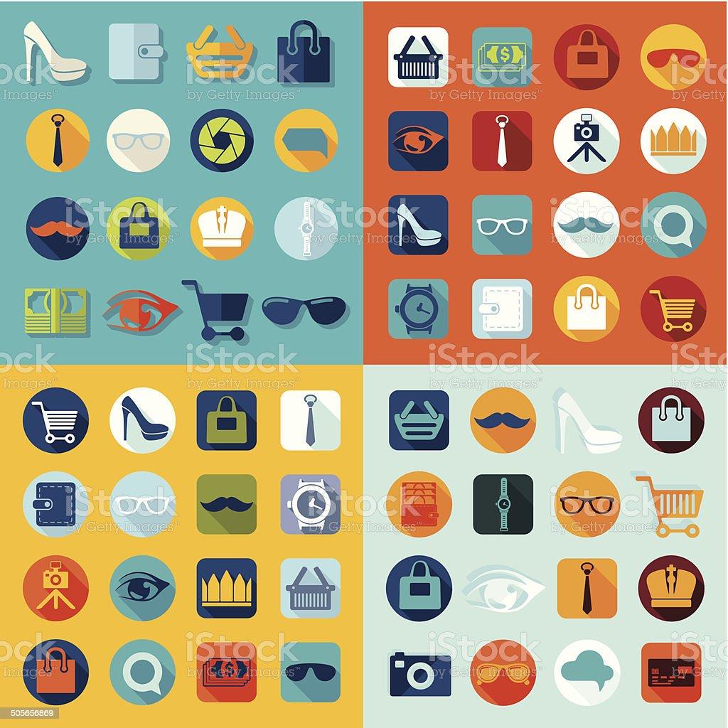 Set of fashion icons vector art illustration