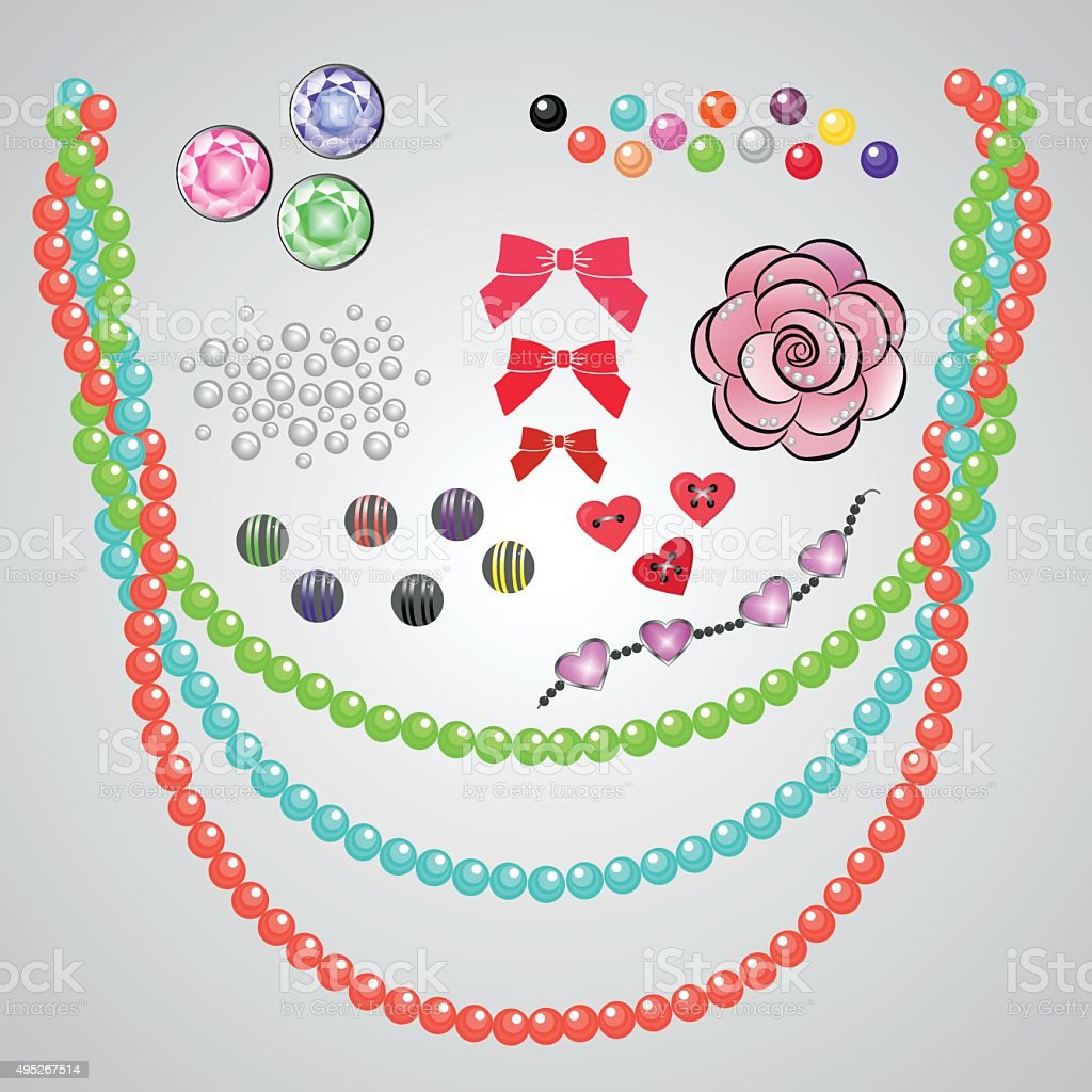 set of fashion jewelry vector art illustration