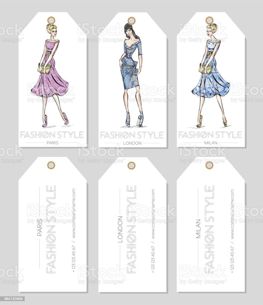 Set of fashion labels with beautiful women in sketch style, Paris, London, Milan business card, beauty girls hand drawn vector illustration royalty-free set of fashion labels with beautiful women in sketch style paris london milan business card beauty girls hand drawn vector illustration stock vector art & more images of adult