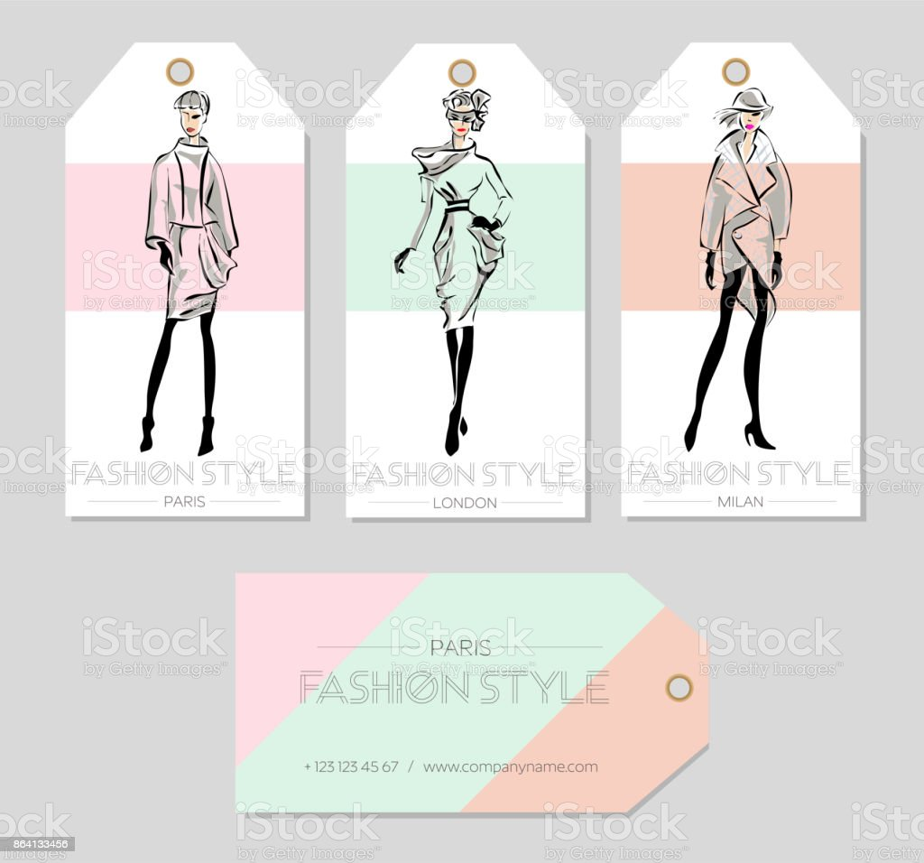 Set of fashion labels with beautiful women in sketch style, Paris, London, Milan business card, beauty girls hand drawn vector illustration vector art illustration