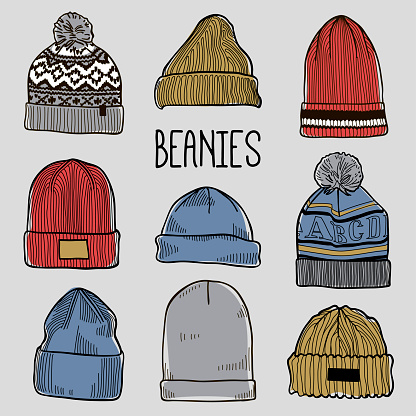 Set of fashion men's caps and hats sketches: baseball caps, snap-back cap, trucker cap, baker boy cap, knitted hats, hats with a pom pom, sports hats, fisherman beanie, bucket hat