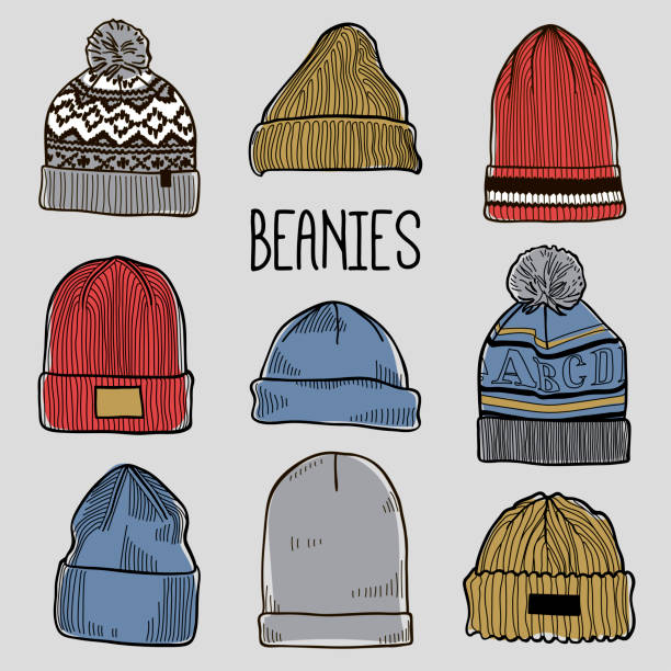 Set of fashion men's caps and hats sketches: baseball caps, snap-back cap, trucker cap, baker boy cap, knitted hats, hats with a pom pom, sports hats, fisherman beanie, bucket hat Colored vector knit hat stock illustrations