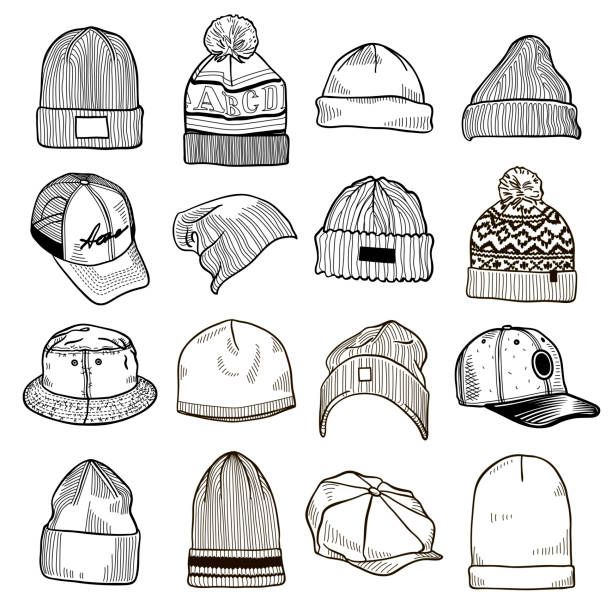 Set of fashion men's caps and hats sketches: baseball caps, snap-back cap, trucker cap, baker boy cap, knitted hats, hats with a pom pom, sports hats, fisherman beanie, bucket hat Vector isolated knit hat stock illustrations