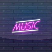 Set of fashion neon sign. Night bright signboard Music, Glowing light banner. Summer logo, emblem. Club or bar on dark background. Editable vector
