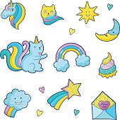Set of fashion patch badges for girls. Unicorns, hearts, cats, cloud, rainbow and other elements. Vector stickers, pins, patches in cartoon 80s-90s comic style.