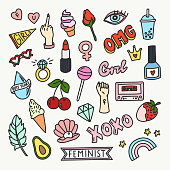 Set of fashion patches and cute badges in cartoon style. Vector isolated illustrations of female symbols and icons. Great for stickers, badges, embroidery.