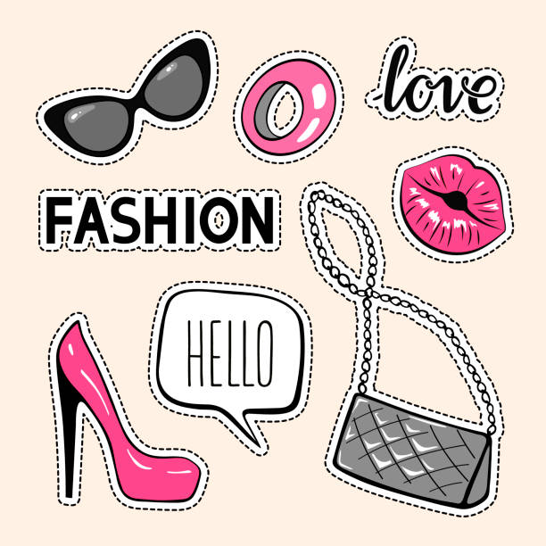 set of fashion patches, cute badges, stickers, cartoon icons. vector design elements - kiss stock illustrations