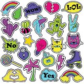 Colorful fun set of fashion stickers, icons, emoji, pins or patches in cartoon 80s-90s comic style.