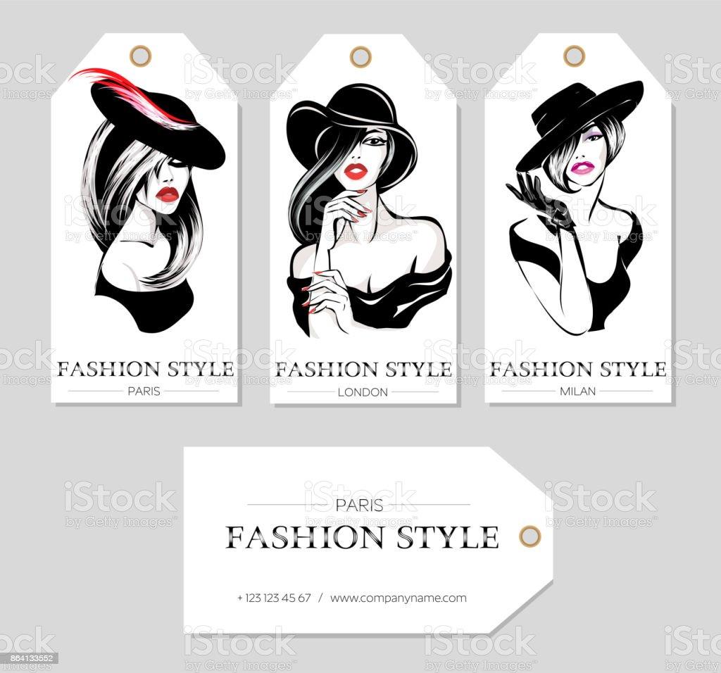 Ensemble De Balises Mode Avec Belles Femmes Noires Et Blanches Portant Des Chapeaux