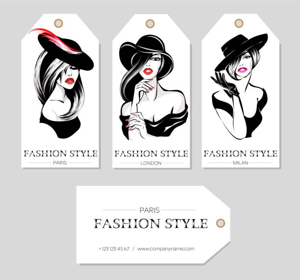 Set of fashion tags with beautiful black and white women wearing hats, sketch style, Paris, London, Milan business card, beauty girls hand drawn vector illustration vector art illustration