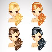 Vector illustration of fashion wave hair styling in different colours for woman