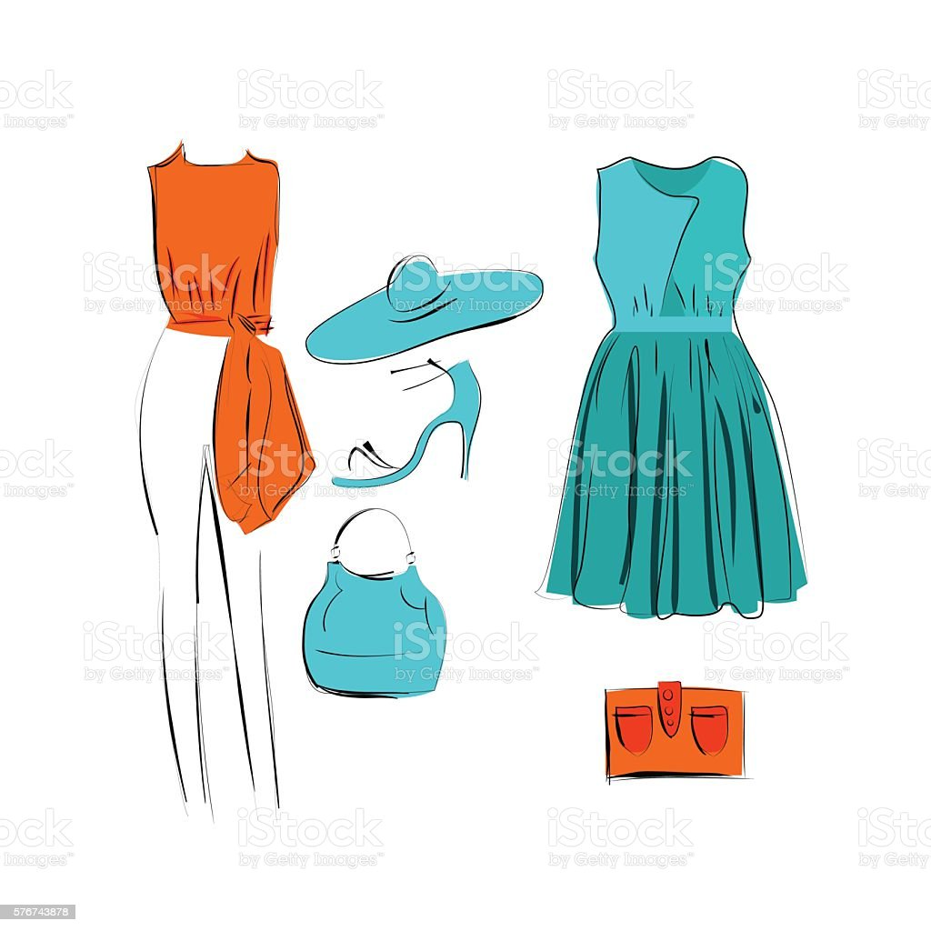 set of fashionable clothes icon isolated векторная иллюстрация