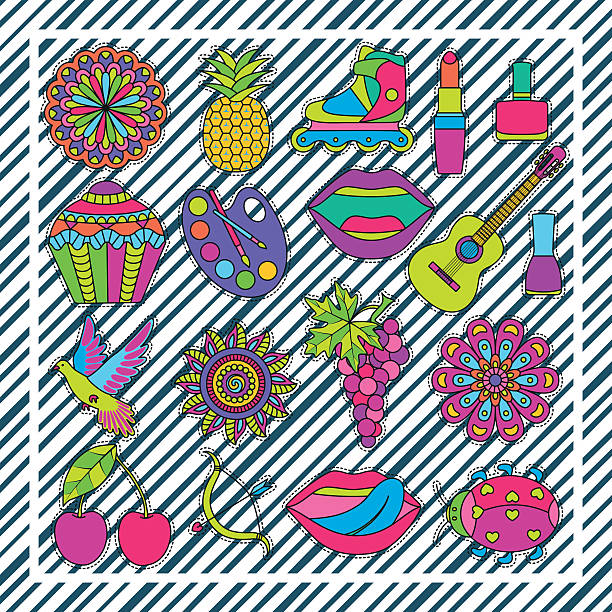 set of fashionable cute patches elements on striped background - 花のボーダー点のイラスト素材/クリップアート素材/マンガ素材/アイコン素材