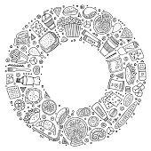 Line art vector hand drawn set of Fast food cartoon doodle objects, symbols and items. Round frame composition