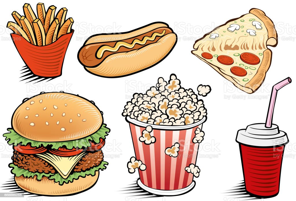 d988d511345f Set Of Fast Food Cola Hamburger Pizza Hotdog Popcorn Stock Vector ...