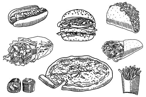 Set of fast food doodles